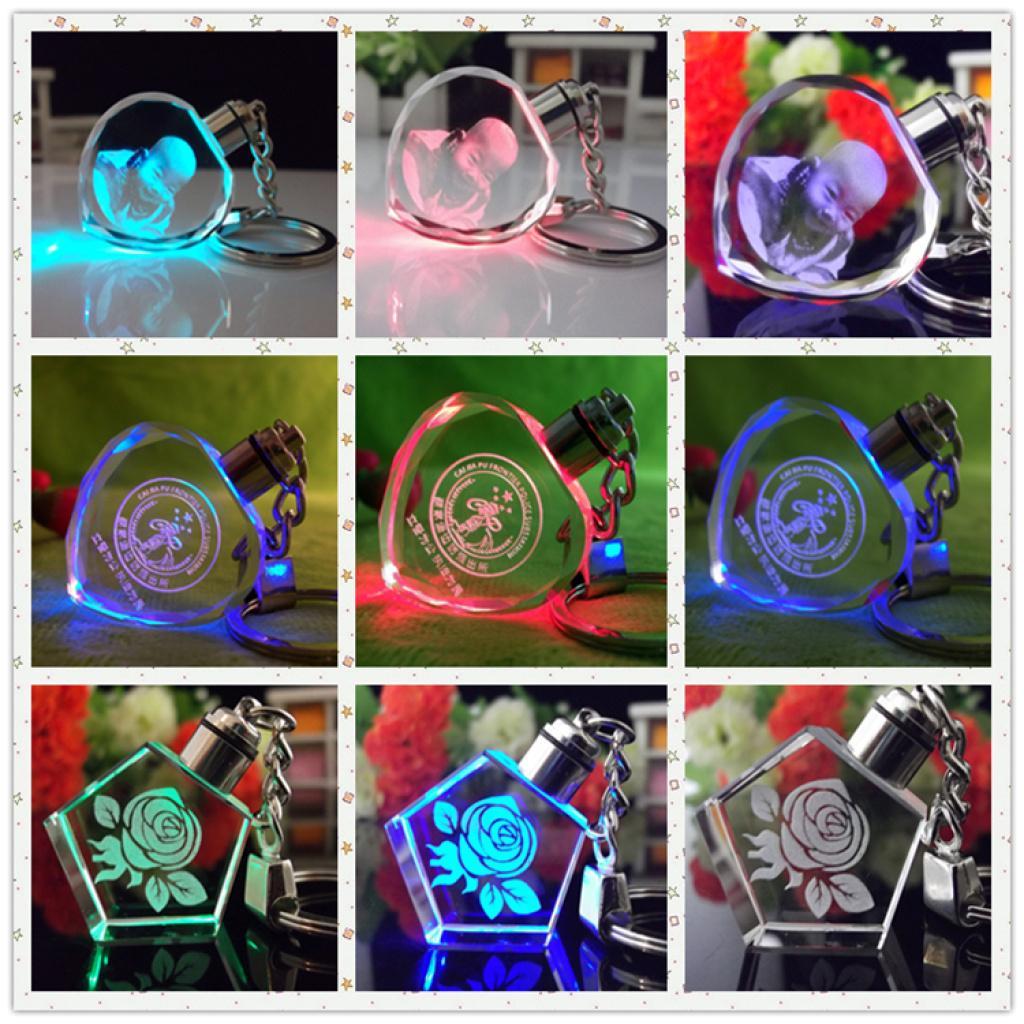 3d Laser Engraving Crystal Glass Keychain Car Logo Blank Led Crystal Keychain