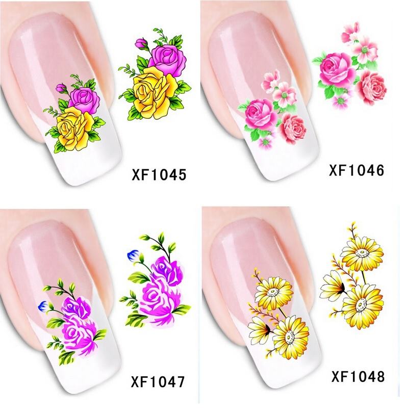 1sheets beauty flowers nails sticker nail art water transfer decals stickers pegatinas de unas guia opp