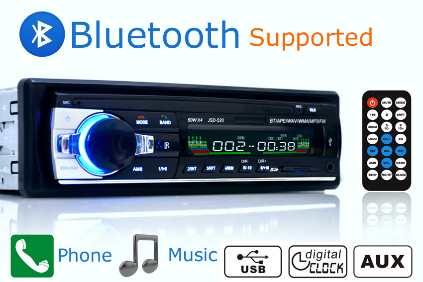 acheter voiture radio st r o lecteur bluetooth t l phone aux in mp3 fm usb 1. Black Bedroom Furniture Sets. Home Design Ideas