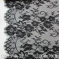 Black lace fabric 70cm wide garment eyelash fabric lace