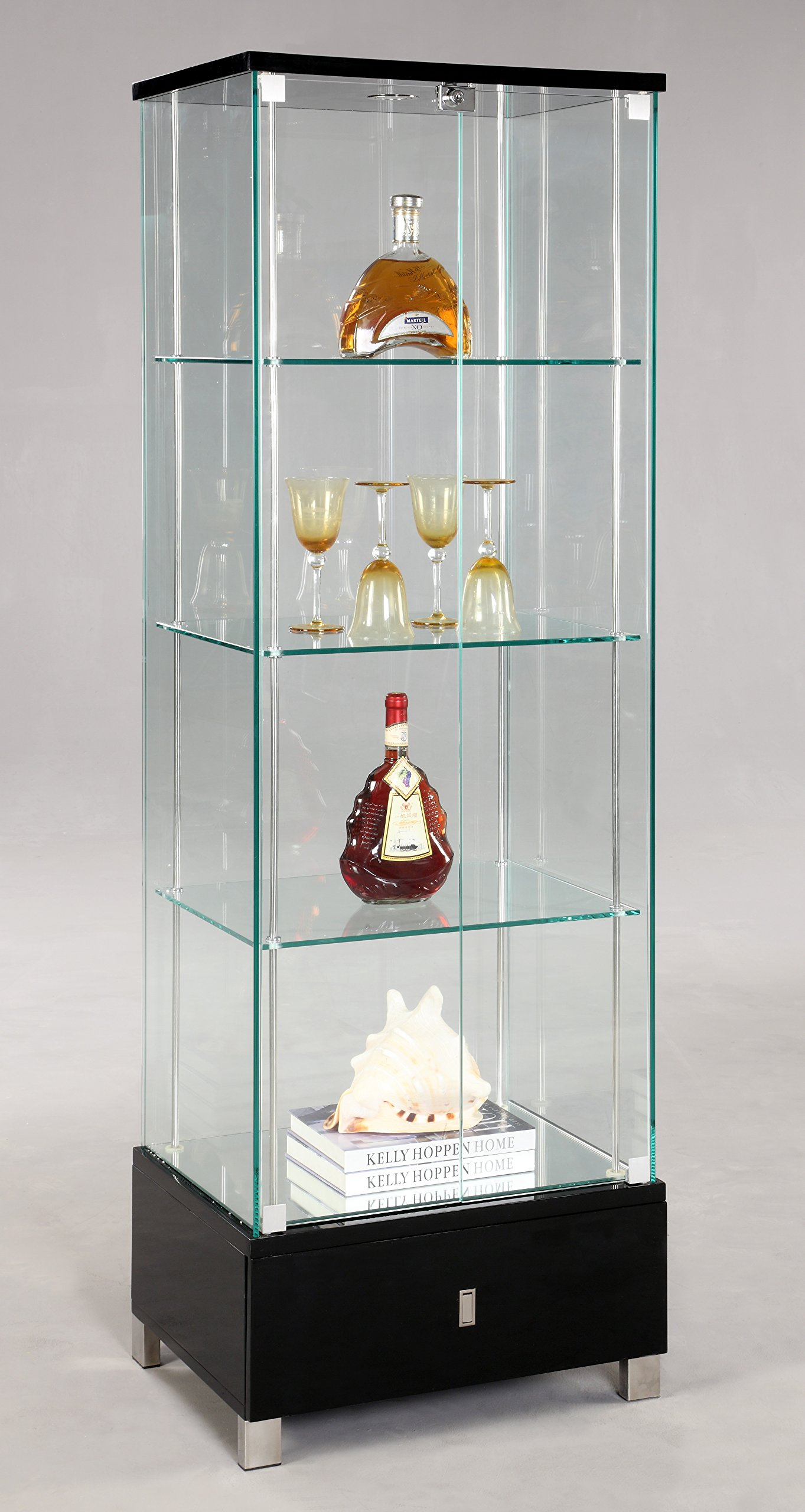 High Quality Chintaly Imports 6628 Glass Curio Cabinet, Clear/Black