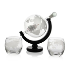 Funnel Crystal Whiskey Earth Decanter and Two Whiskey Glasses