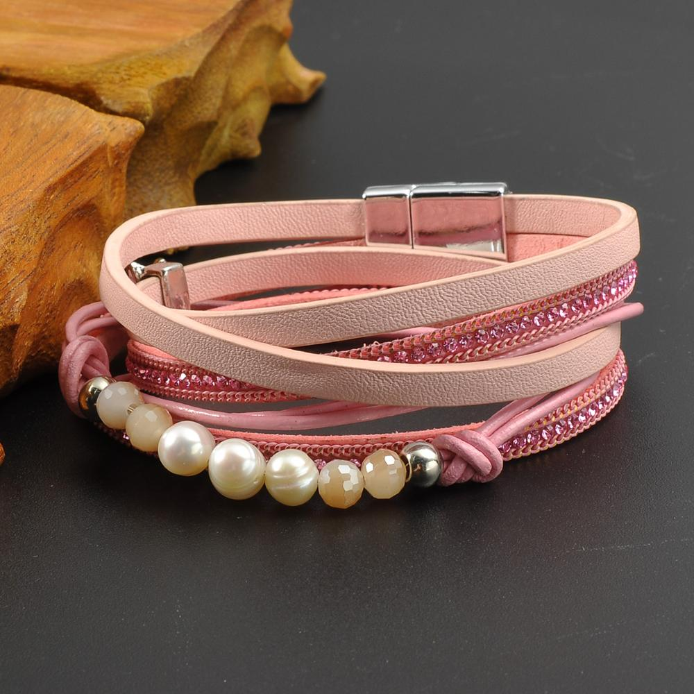 Stainless Steel Magnetic Buckle Cuff Leather Wrap Multilayer Around Bracelet For Girl