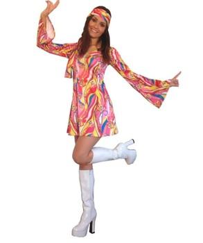 Fancy Dress Costume Flower Power Hippie Hippy Retro GoGo 1960s 1970s  Halloween Costumes SD859 782b87c89ad