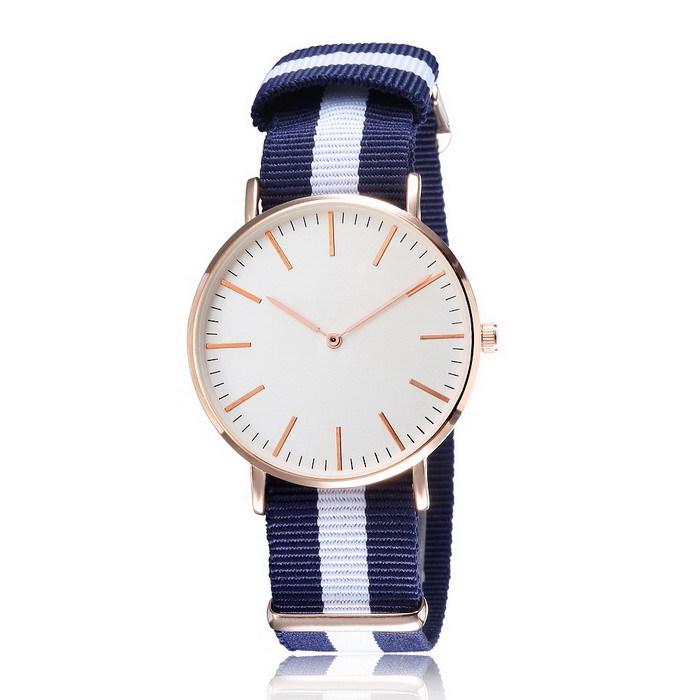 Стильные женщины мужчины платье часы нейлон ремешок большой циферблат из розового золота свободного покроя военная кварцевые наручные часы мужской часы Relogio Masculino