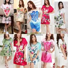 Lady Emulation Chinese Silk Pajamas Short-sleeved Lingerie Tracksuit Gown
