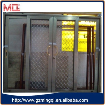 Double Glazed Sliding Aluminium Insect Screen Door With Grid Design