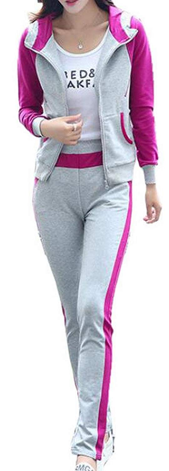 1621724704629 Get Quotations · FLCH+YIGE Womens Hoodie French Terry Track Suit Studded  Along Zipper