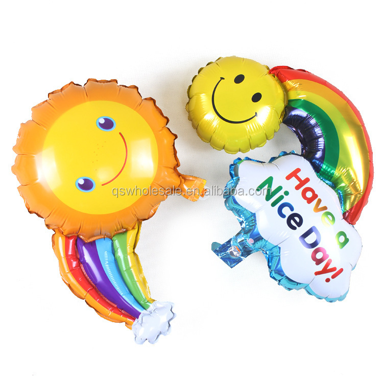 Rainbow smile face foil balloon large size hot selling