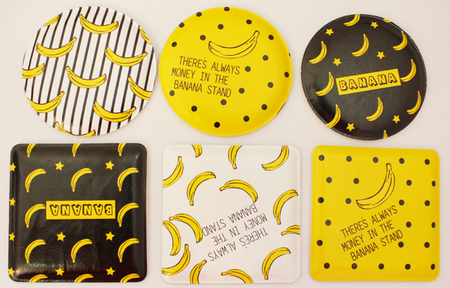 2017 newest promotional gift custom banana style pocket mirror, MJ109