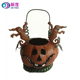 Halloween ornament Wrought Iron Floor Standing Pumpkin Decorative Lantern Metal Candle Holder