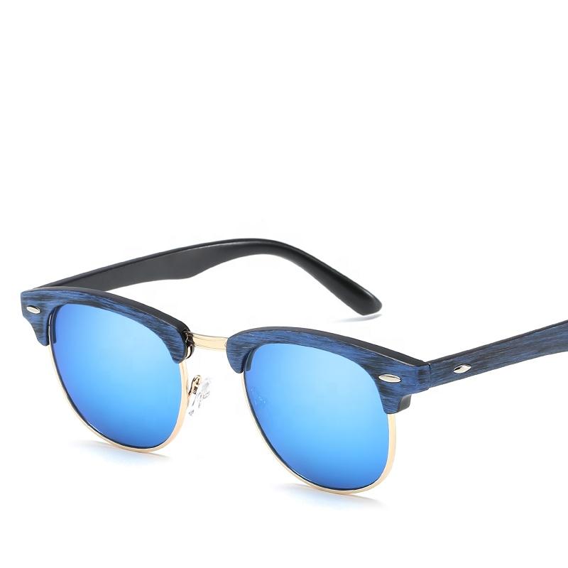 Bamboo Wood Eco-friendly Semi Frame Nail Wooden Sunglasses For Men Women