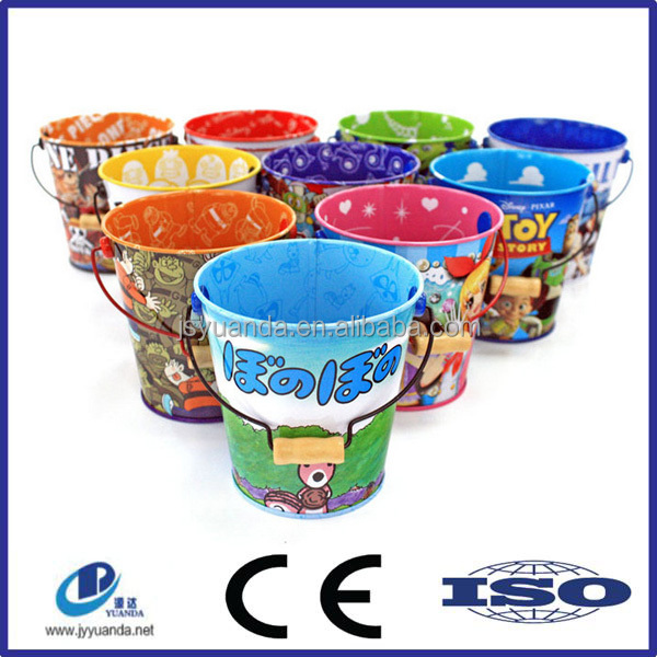 Hot sale christmas round tin bucket