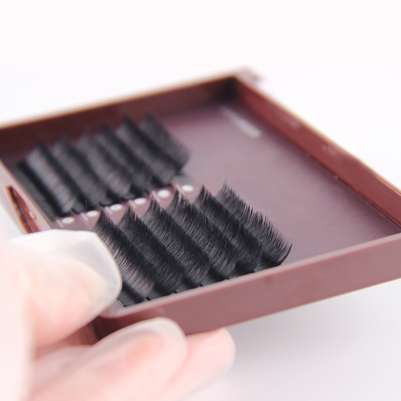 Faux Mink Volume Blooming eyelash extension Mix length in a tray Self making fan second flowering Lash Extension, Matte black