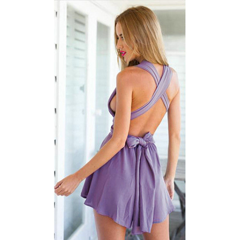 3463b5a120a6 Get Quotations · Romper 2015 Summer Women Jumpsuit Purple Sleeveless  Strappy Beach Ruched Deep V Neck Mini Short Backless