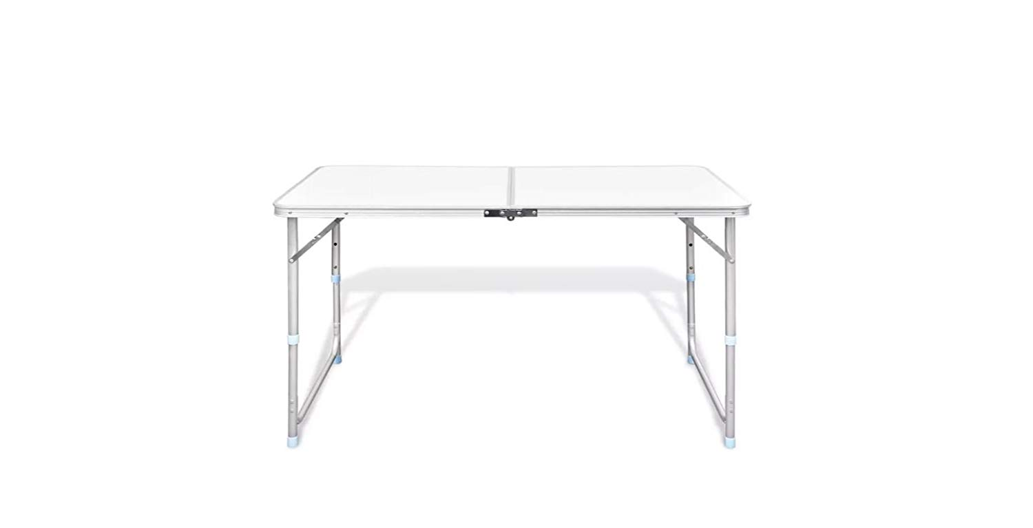 "K&A Company Camping Table Set Foldable Height Adjustable Aluminum 47.2""x23.6"""