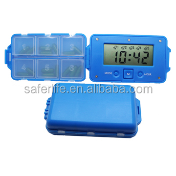 Saferlife Portable 6 compartments Alarm Clock Pill Dispenser Electronic Intelligent Pill Boxes