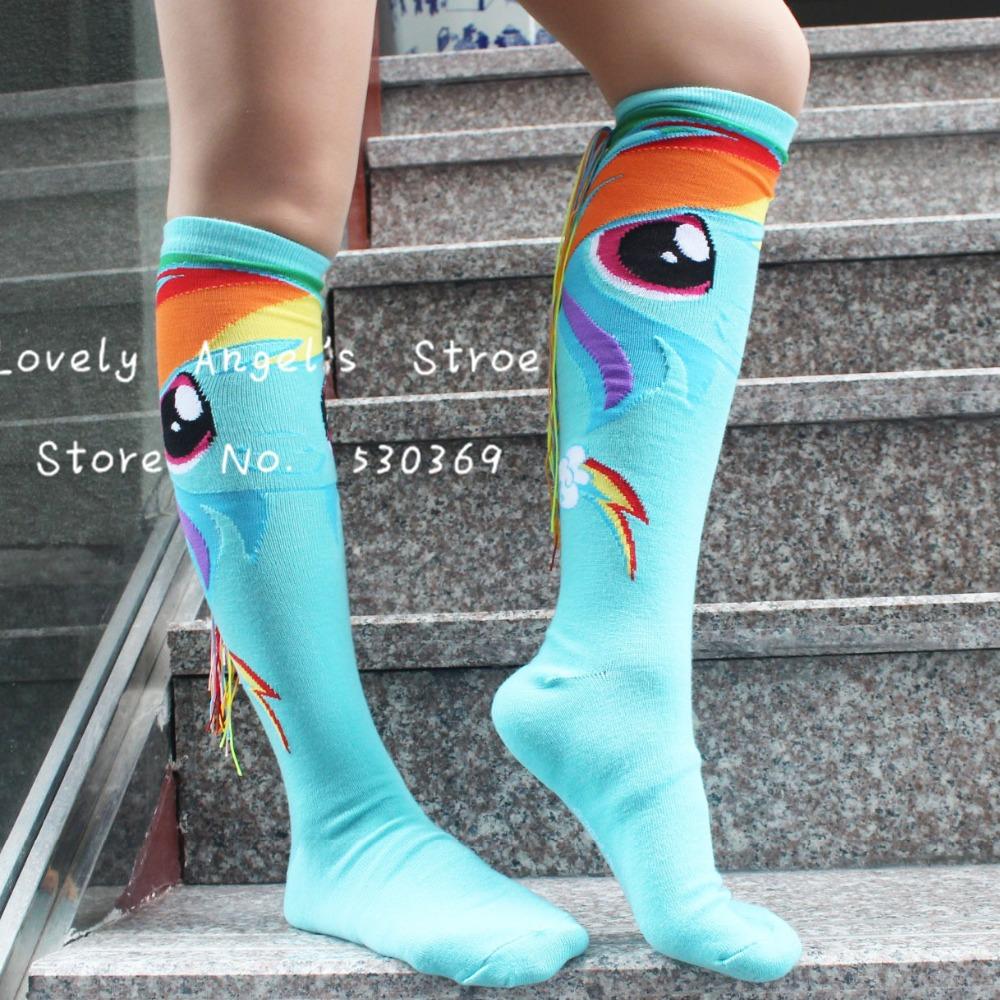 2 носки-12pairs  много милый комикс мой маленький pony синий хлопок колено высокая носки дизайн подарок для женщины девочка