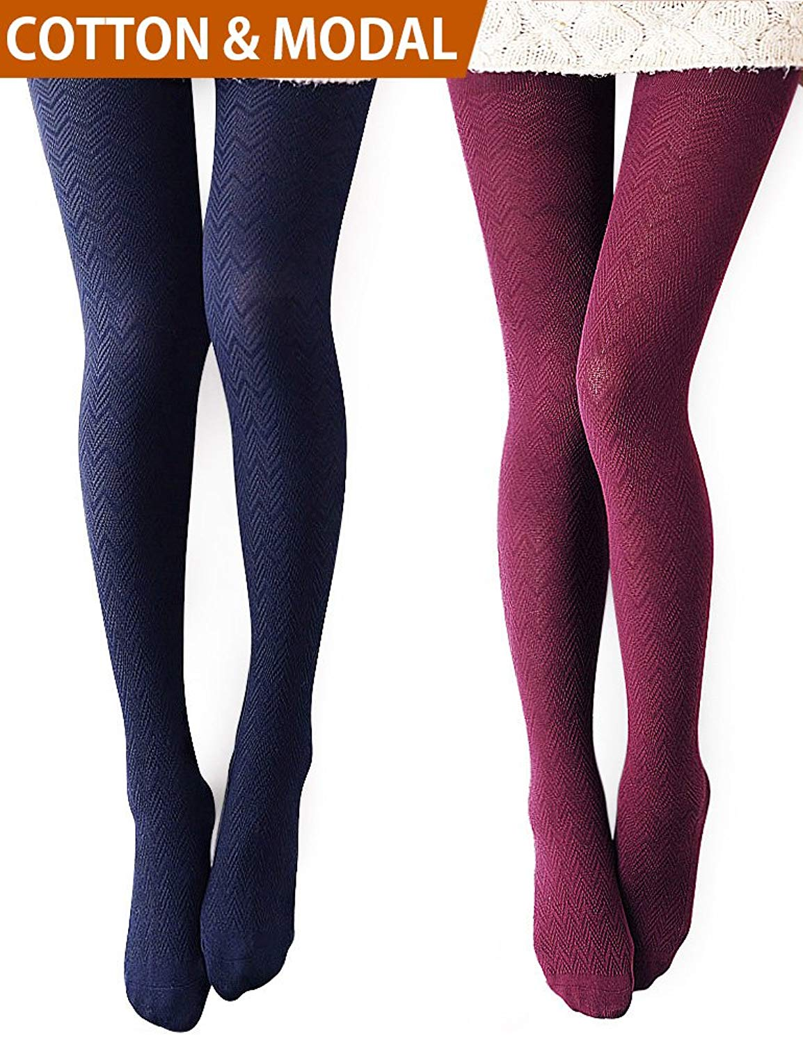 1ef597605 Get Quotations · VERO MONTE Modal   Cotton Opaque Patterned Tights for Women  - Knitted Tights