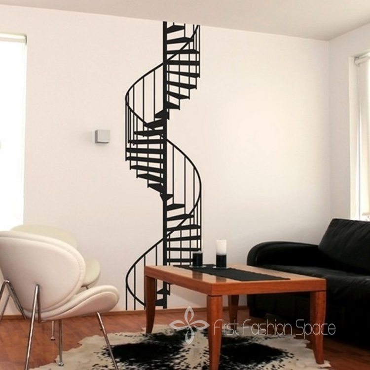 Online get cheap spiral staircase - Cheap wall decals for living room ...