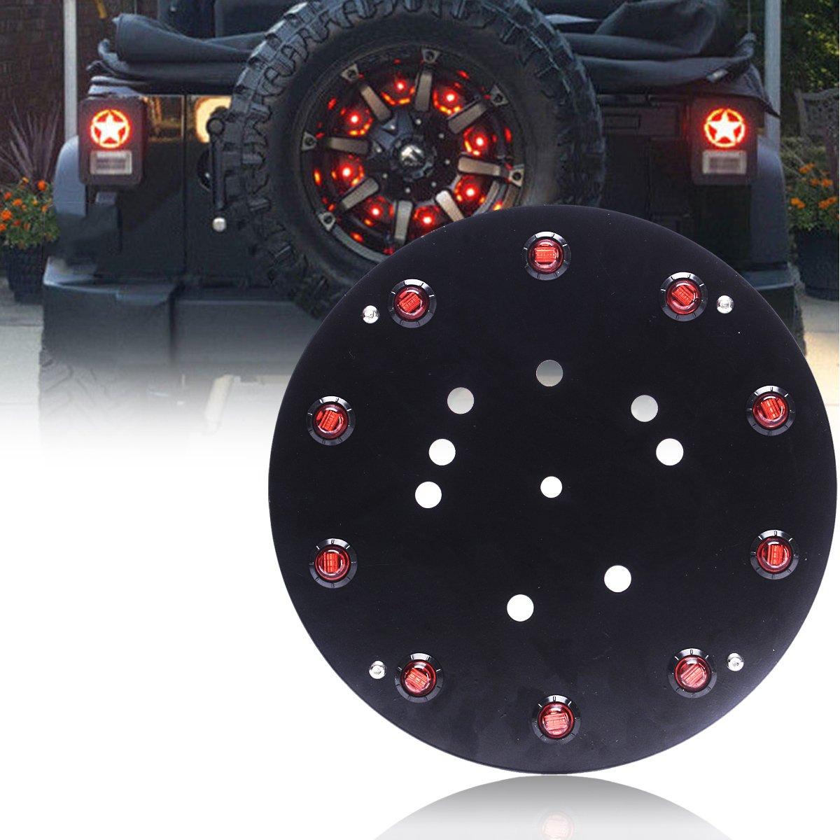 T-Former Spare Tire LED 3rd Brake Lights 12V - 10pcs Red Warning Signal Ring - Parking Lights Rear Wheel Backup Tail Light For Off Road 2007-2017 Jeep Wrangler JK JKU Unlimited