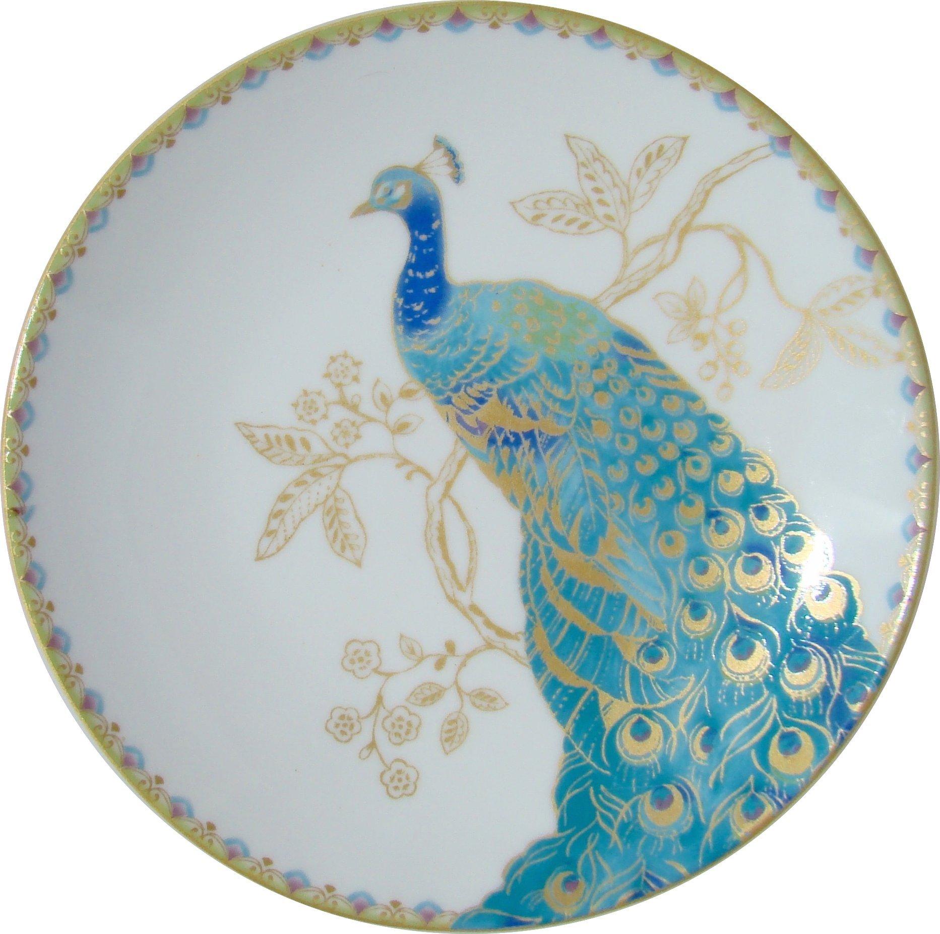 222 Fifth Peacock Garden Dessert Plates Set of 4