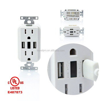 USA 125V 15A Temper resistance Duplex Receptacle us wall usb plug outlet 3.6A intelligent charger