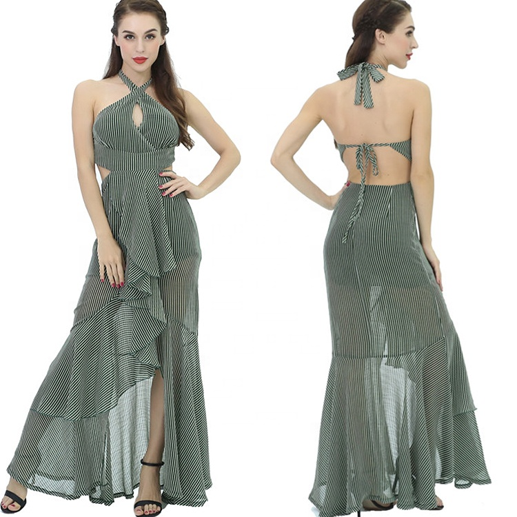 Verde Sereia Assimétrica Longo Maxi Ladies Night Club Sexy Vestido Sem Costas