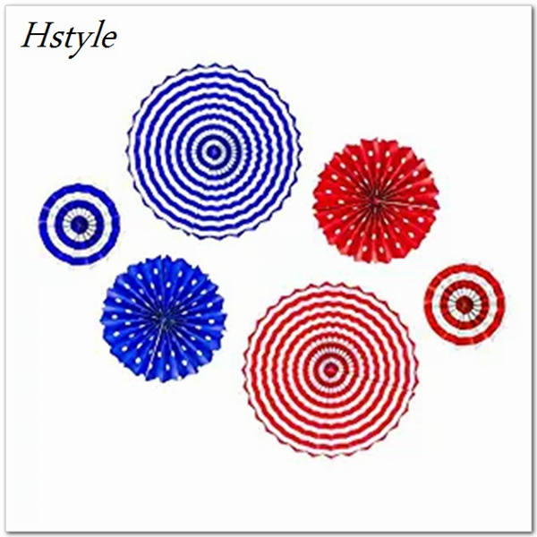 Fourth of July Party Stars & Stripes Hanging Fan Decoration 6PCS SDS001