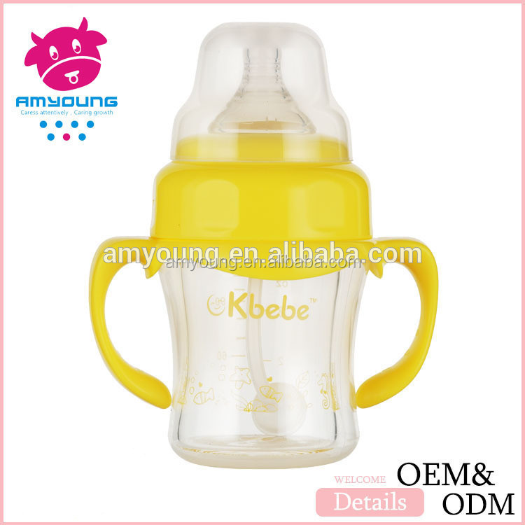Disposable nipples glass feeding bottles CE/ISO , glass bottles180ml