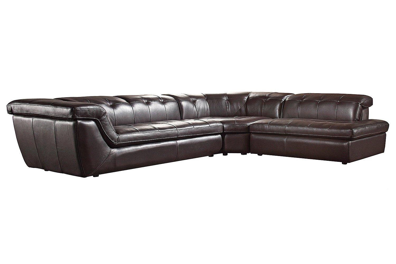 Soflex Tegan-Lu Brown Full Italian Leather Sectional Sofa Modern Contemporary (Right)