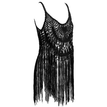 c16db18613ac4 Sexy Women Crochet Bikini Cover Up Tassel Fringe Hollow Out Knitted  Swimwear Swimsuit Beachwear Black