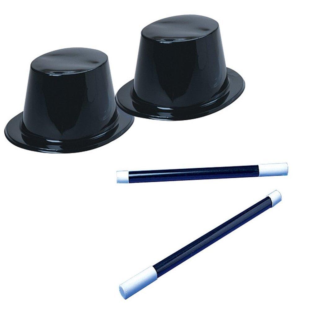 Black Top Hat & Magic Wand Toy Party Favor Supplies Set for 12 Bundle 24 Pieces