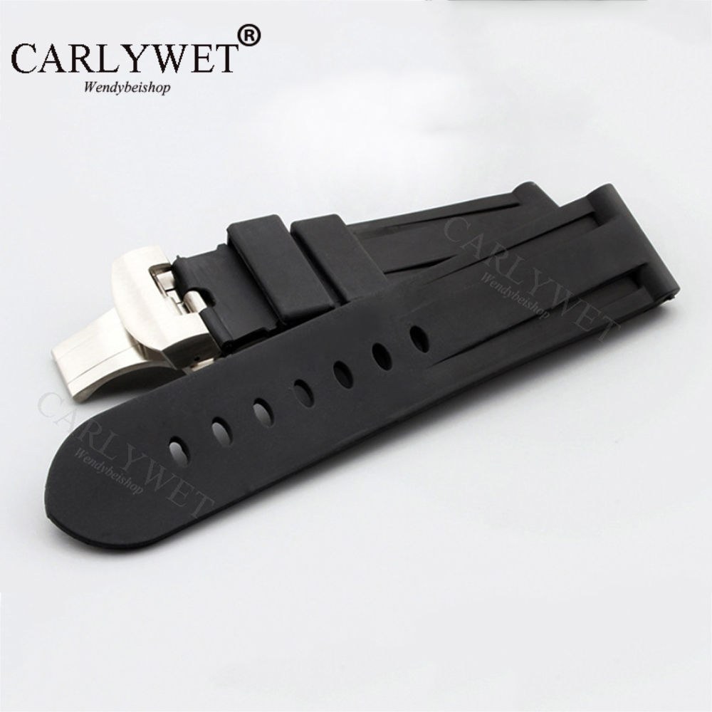 CARLYWET 24mm Wholesale Black Waterproof Silicone Rubber Replacement Wrist Watch Band Strap with Classic Silver Black Clasp фото