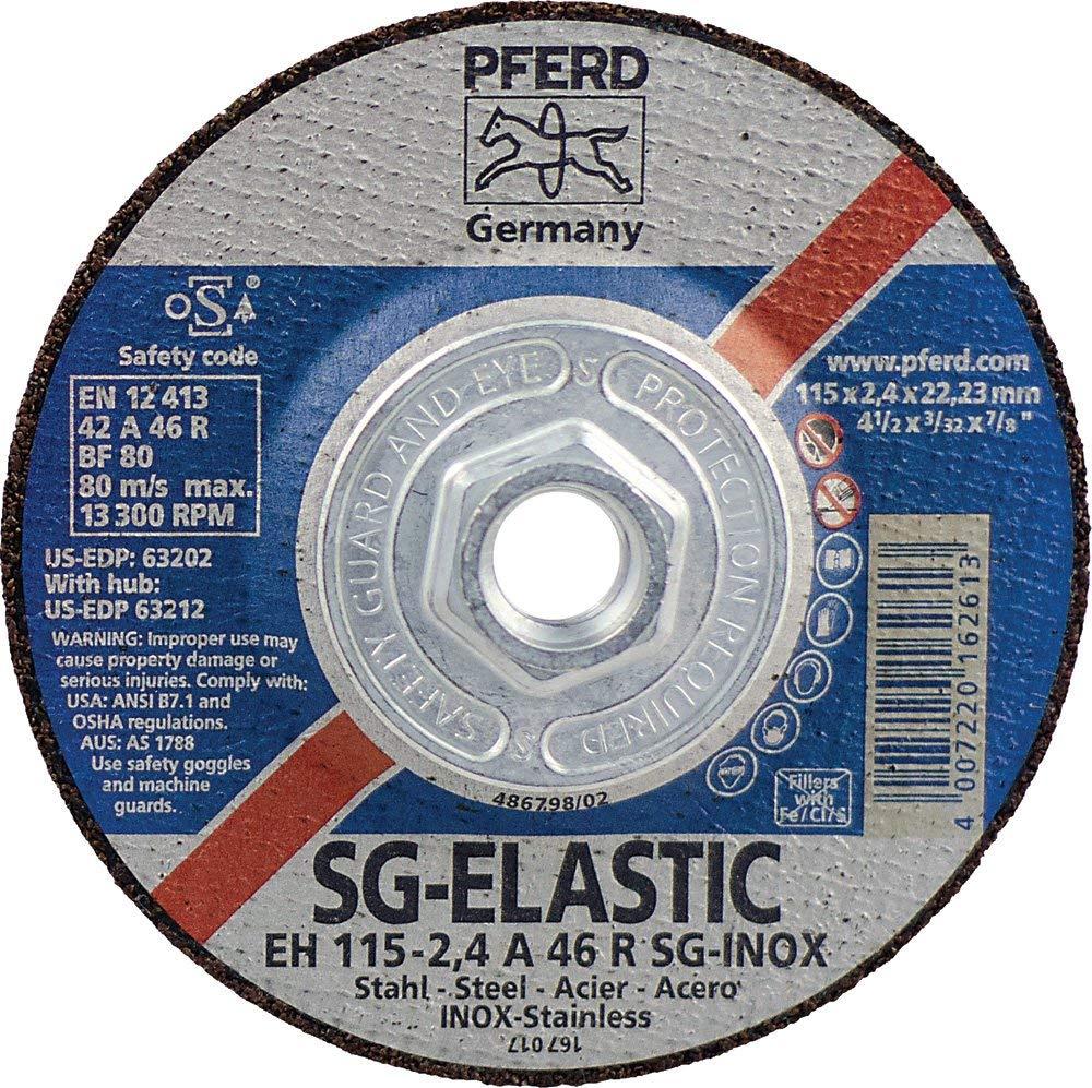 "Pferd 63212 Depressed Centre Cut-Off Wheel, Type 27, Aluminum Oxide A, 4-1/2"" Diameter x 3/32"" Thickness, 5/8-11 Thread, 13300 Max RPM (Pack of 10)"