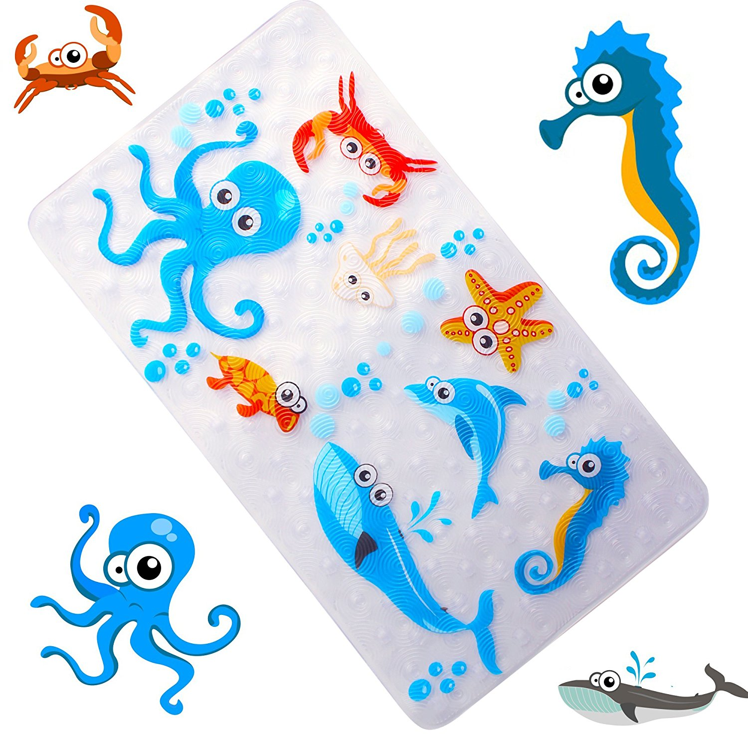 WoByt Multi-Purpose Bath Mat/PVC Material Baby Tub Mat Non Slip Mats Children & Shower Bathroom Safety Pattern from Ocean Octopus