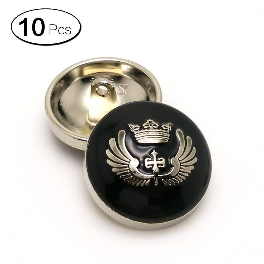 Anjing High Grade Metal Point Oil Gold Shank Buttons - For Blazer, Suits, Sweater, Uniform - 10 Pieces