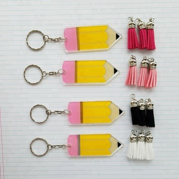 Handmade Tassel Drop Vinyl Pencil Keyring Cut Printed Acrylic Pencil Tassel Keychain