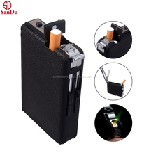 custom made 2in1 Metal Cigarette Case Box Holder Windproof Flame Fire Gas Refillable Lighter