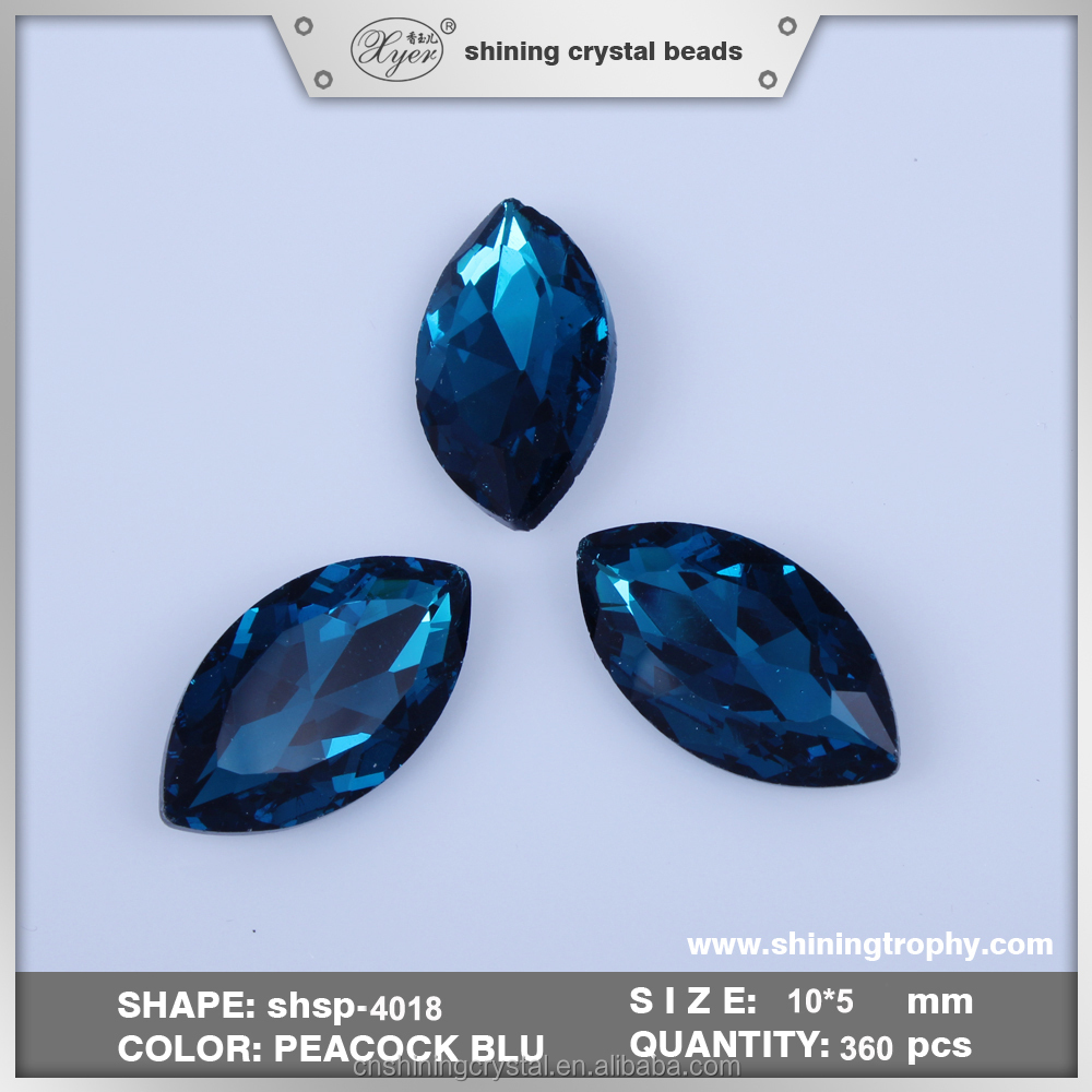 10*5mm High Quality Horse Eye Shape Peacock Blue Pointback Crystal Rhinestone DIY Glass <strong>Stone</strong> For Garment Accessories