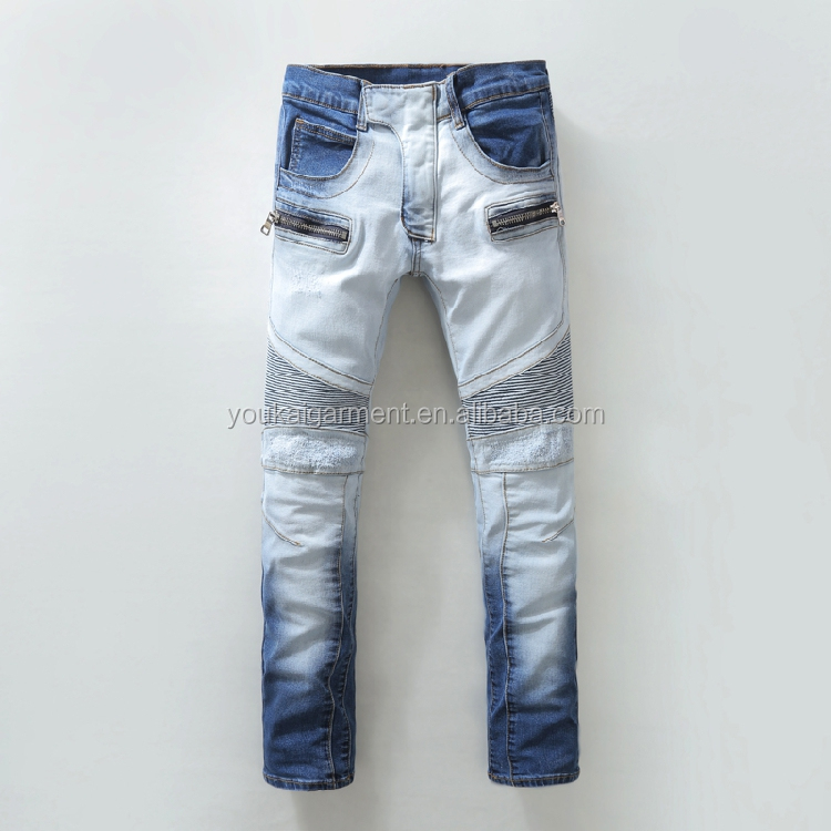 96f574cdfe54 men denim biker jeans OEM service custom boy new fashion straight multi  colo motor zipper pockte biker jeans for men