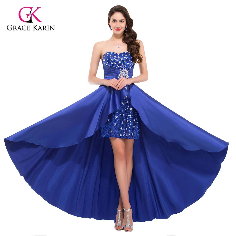 ee977623422 Hot High Low Prom Dresses 2017 Elegant Women Royal Blue Pink Sequin  Paillette Evening Party Short Front Long Back Dress 6012