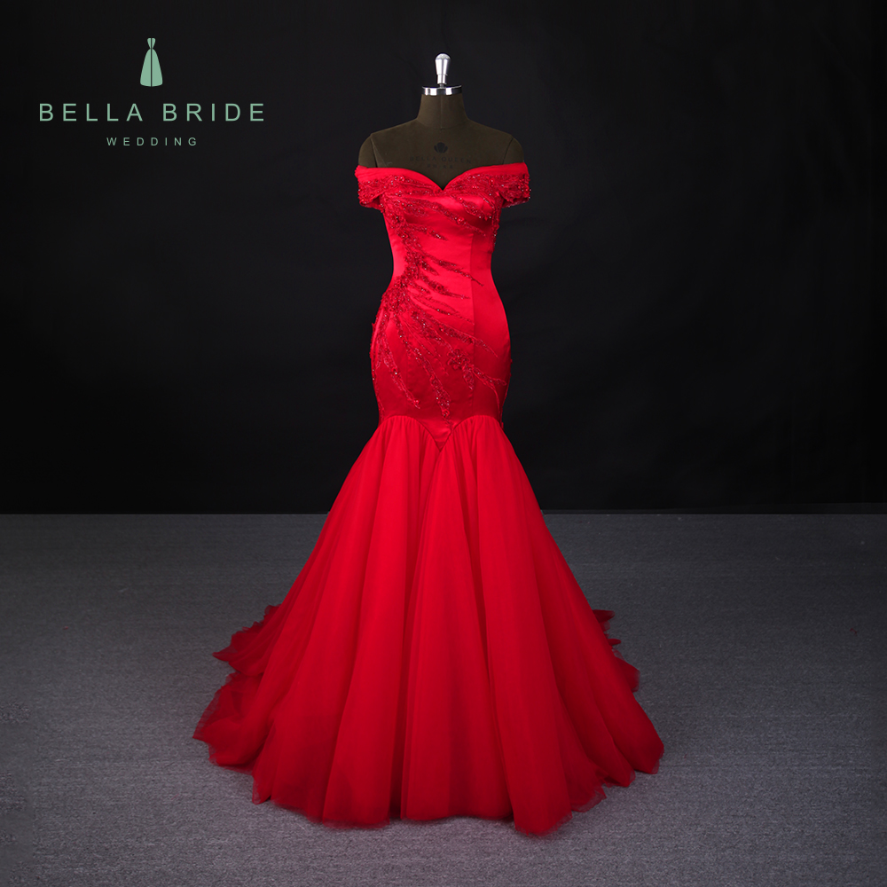 015645345ab7 Modern red mermaid evening dress puffy tail long prom party dresses online evening  gown