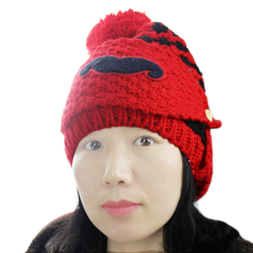 af6711e5d19 Get Quotations · Women s Winter Doubble Layers Fleece Lined Knitted Ski  Beard Face Mask Hat Cap
