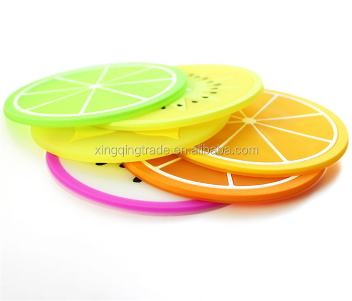 Fruit Coaster Colorful Silicone Tea Cup Drinks Holder Mat Placemat Pads