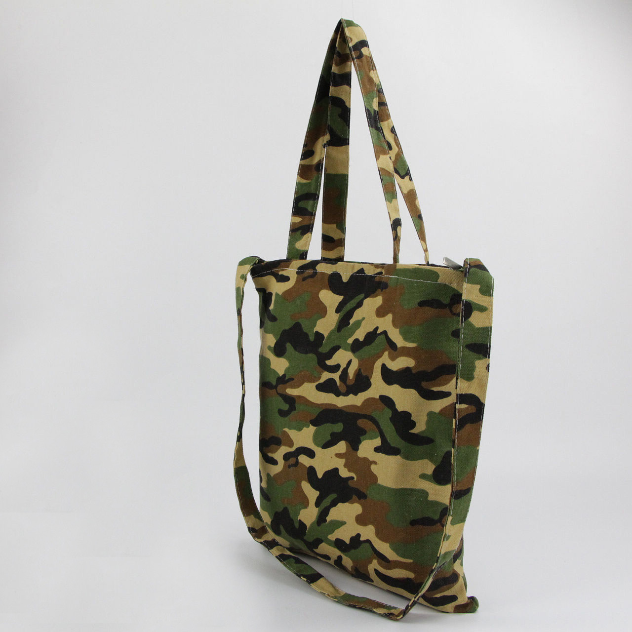 Manufacturers camouflage cotton canvas shoulder bag environmental single shoulder aslant shopping bag can be printed LOGO