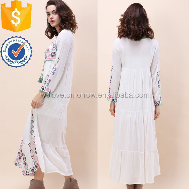 White Embroidered Bohemian Maxi Dress Latest New Design Women Clothing Wholesaler China Guangdong(TS1454D)