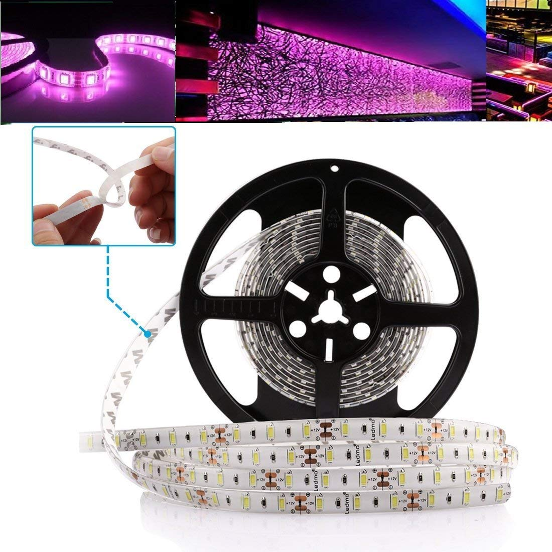 Flexible LED Light Strip, Multi-colors Christmas New year Party Decoration Rope Lights,150 Units 5050 LEDs, Non-Waterproof LED Tape, Pack of 16.4ft/5m (Purple)