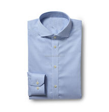 Bleu Simple Manchette Rayures Bengal <span class=keywords><strong>Zéro</strong></span> Fer chemise boutonnée