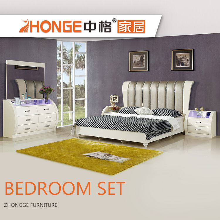 3 Pieces Home Wooden Royal Furniture Antique Luxury Mdf Design King White Bedroom Sets French Set
